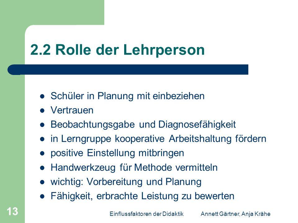 Einflussfaktoren der DidaktikAnnett Gärtner, Anja Krähe 13 2.2 Rolle der Lehrperson Schüler in Planung mit einbeziehen Vertrauen Beobachtungsgabe und