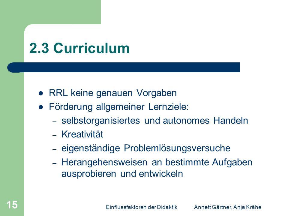 Einflussfaktoren der DidaktikAnnett Gärtner, Anja Krähe 15 2.3 Curriculum RRL keine genauen Vorgaben Förderung allgemeiner Lernziele: – selbstorganisi