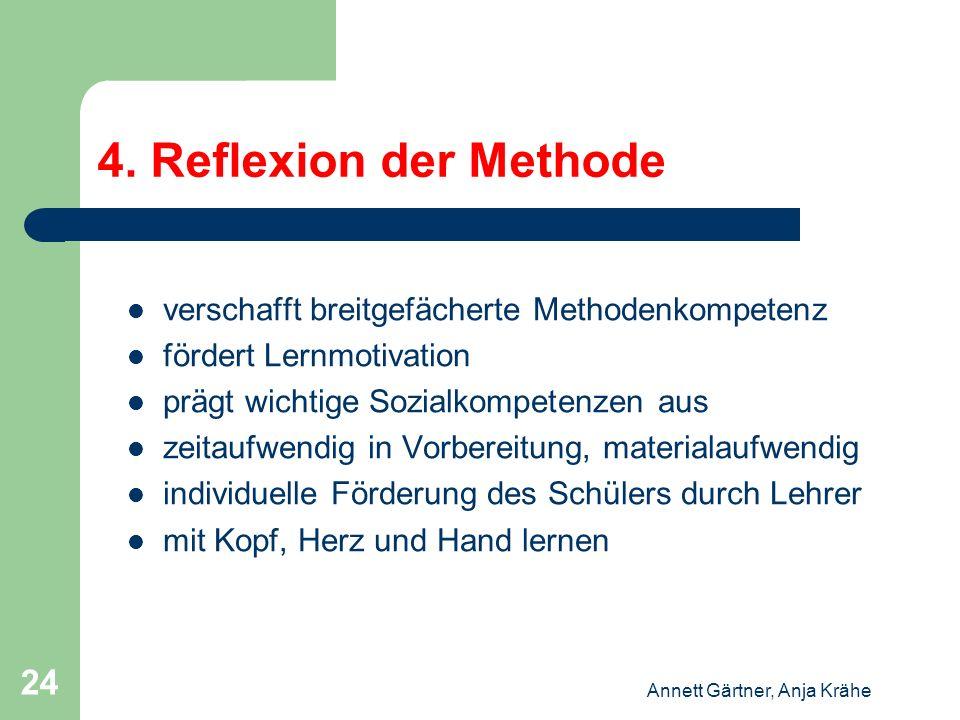 Annett Gärtner, Anja Krähe 24 4. Reflexion der Methode verschafft breitgefächerte Methodenkompetenz fördert Lernmotivation prägt wichtige Sozialkompet