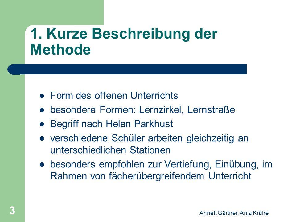 Annett Gärtner, Anja Krähe 3 1. Kurze Beschreibung der Methode Form des offenen Unterrichts besondere Formen: Lernzirkel, Lernstraße Begriff nach Hele