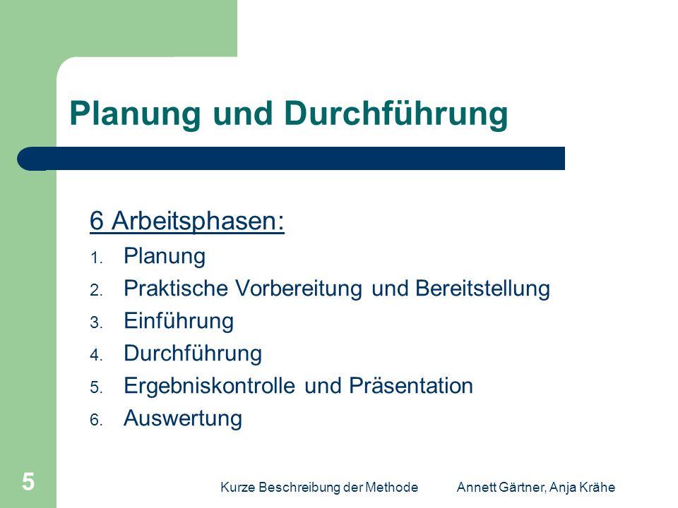 Kurze Beschreibung der MethodeAnnett Gärtner, Anja Krähe 6 Phase 1 : Planung Themenwahl Lernzweck Leitstruktur / Teilziele sonstige Ziele Voraussetzung der Lernenden Konzept zur Beurteilung Zeit- und Raumplanung