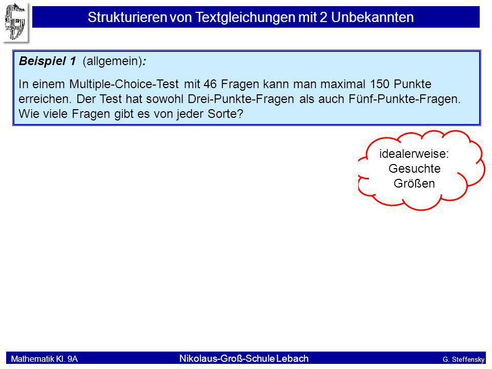 Mathematik Kl. 9A Nikolaus-Groß-Schule Lebach G. Steffensky Strukturieren von Textgleichungen mit 2 Unbekannten Beispiel 1 (allgemein): In einem Multi