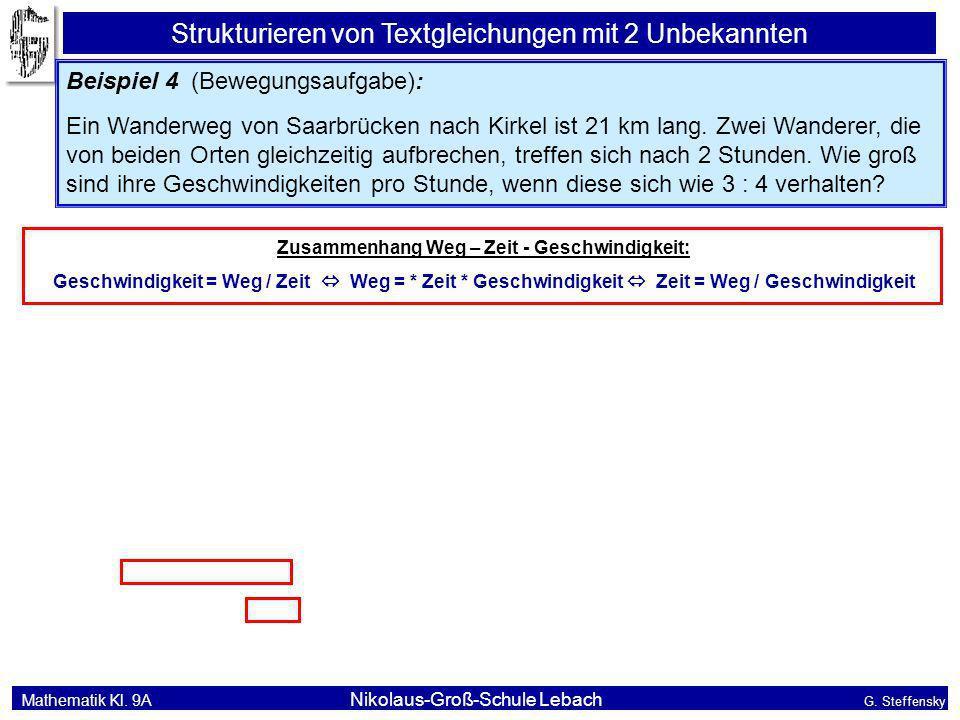 Mathematik Kl. 9A Nikolaus-Groß-Schule Lebach G. Steffensky Strukturieren von Textgleichungen mit 2 Unbekannten Beispiel 4 (Bewegungsaufgabe): Ein Wan