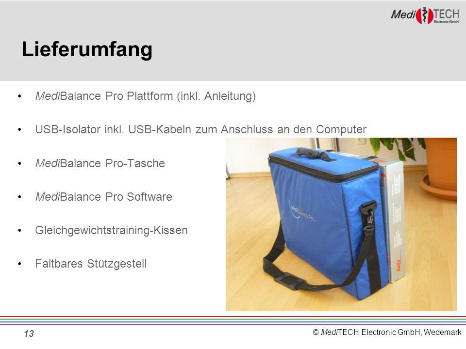© MediTECH Electronic GmbH, Wedemark Lieferumfang MediBalance Pro Plattform (inkl. Anleitung) USB-Isolator inkl. USB-Kabeln zum Anschluss an den Compu