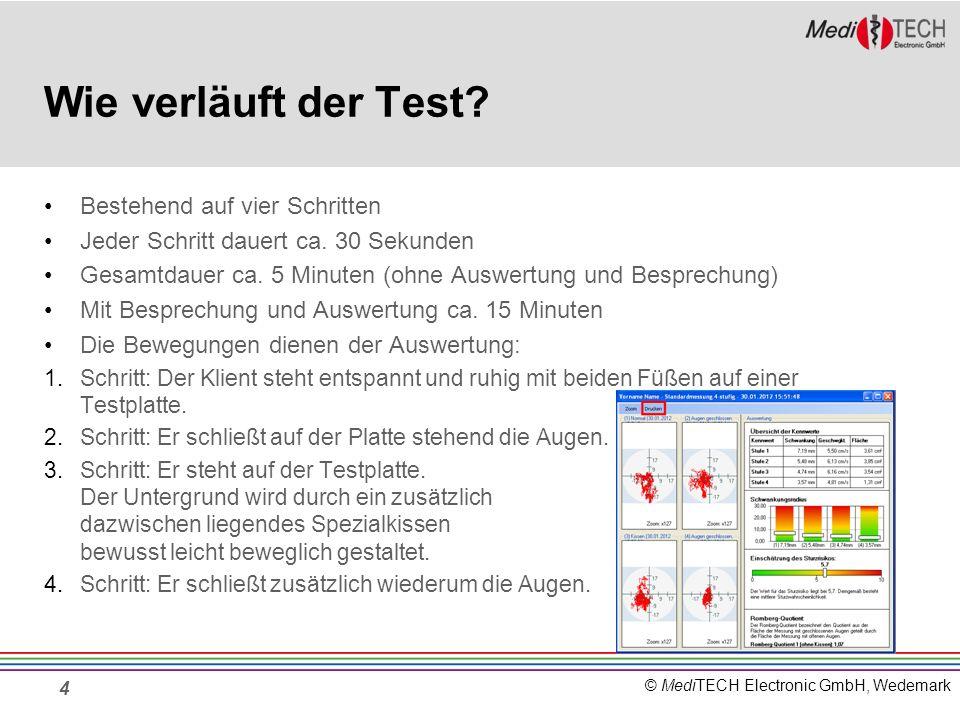 © MediTECH Electronic GmbH, Wedemark Wie verläuft der Test? Bestehend auf vier Schritten Jeder Schritt dauert ca. 30 Sekunden Gesamtdauer ca. 5 Minute