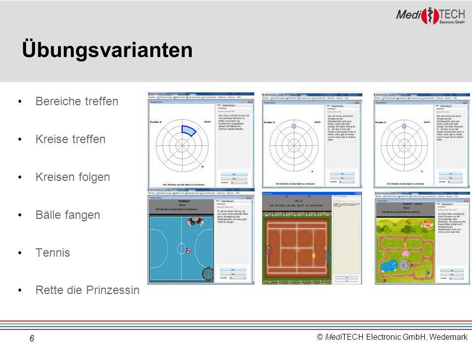 © MediTECH Electronic GmbH, Wedemark Bereiche treffen In diesem Spiel bekommt der Klient Punkte, wenn er seinen roten Punkt in den blau markierten Bereich bewegt.