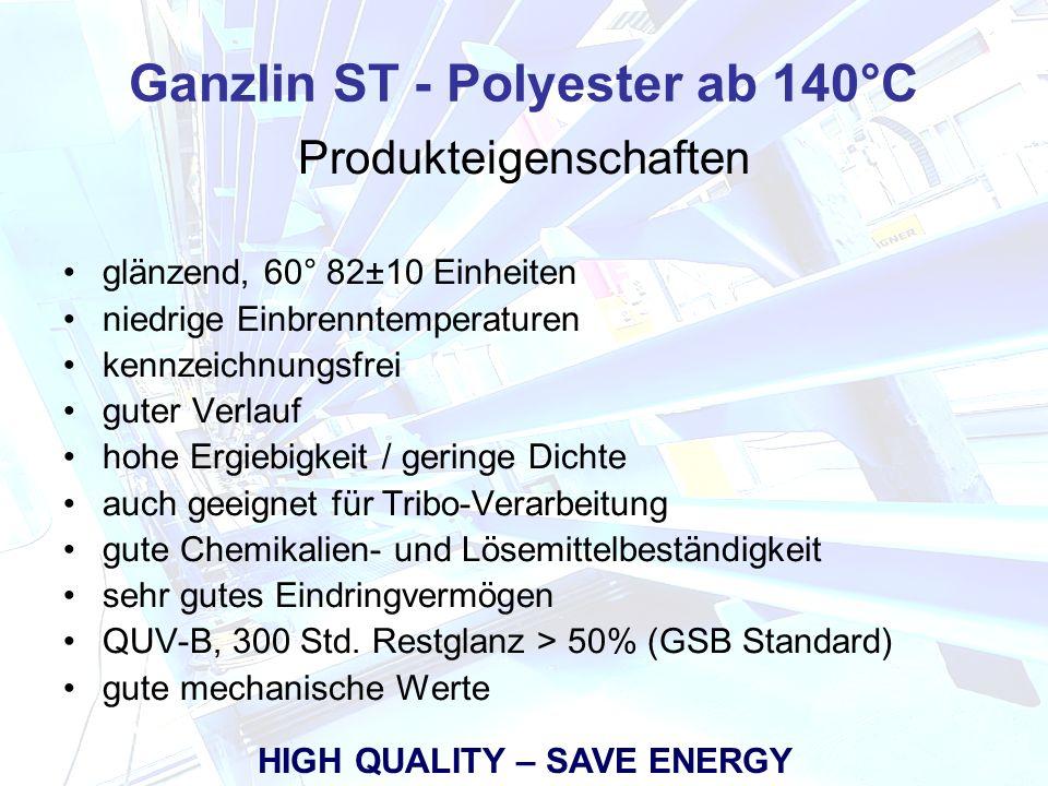 ST - HGL 411 Produkteigenschaften glänzend, 60° 82±10 Einheiten niedrige Einbrenntemperaturen kennzeichnungsfrei guter Verlauf hohe Ergiebigkeit / geringe Dichte auch geeignet für Tribo-Verarbeitung gute Chemikalien- und Lösemittelbeständigkeit sehr gutes Eindringvermögen QUV-B, 300 Std.