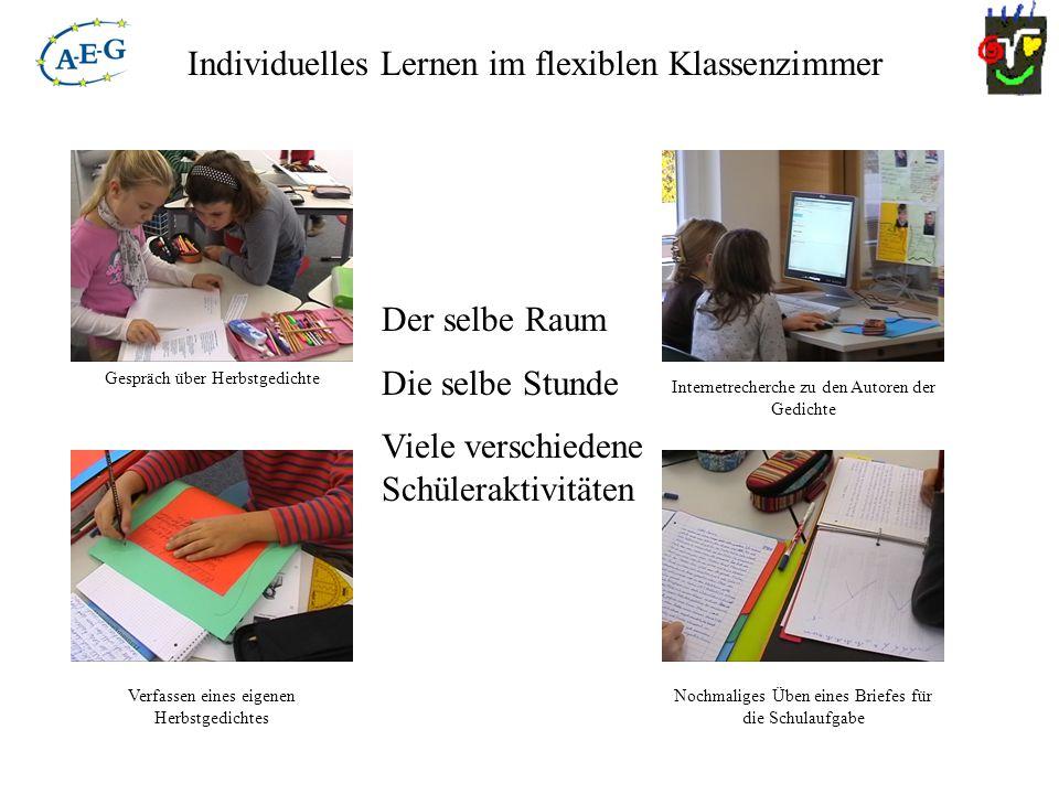 Individuelles Lernen im flexiblen Klassenzimmer Der selbe Raum Die selbe Stunde Viele verschiedene Schüleraktivitäten Gespräch über Herbstgedichte Ver