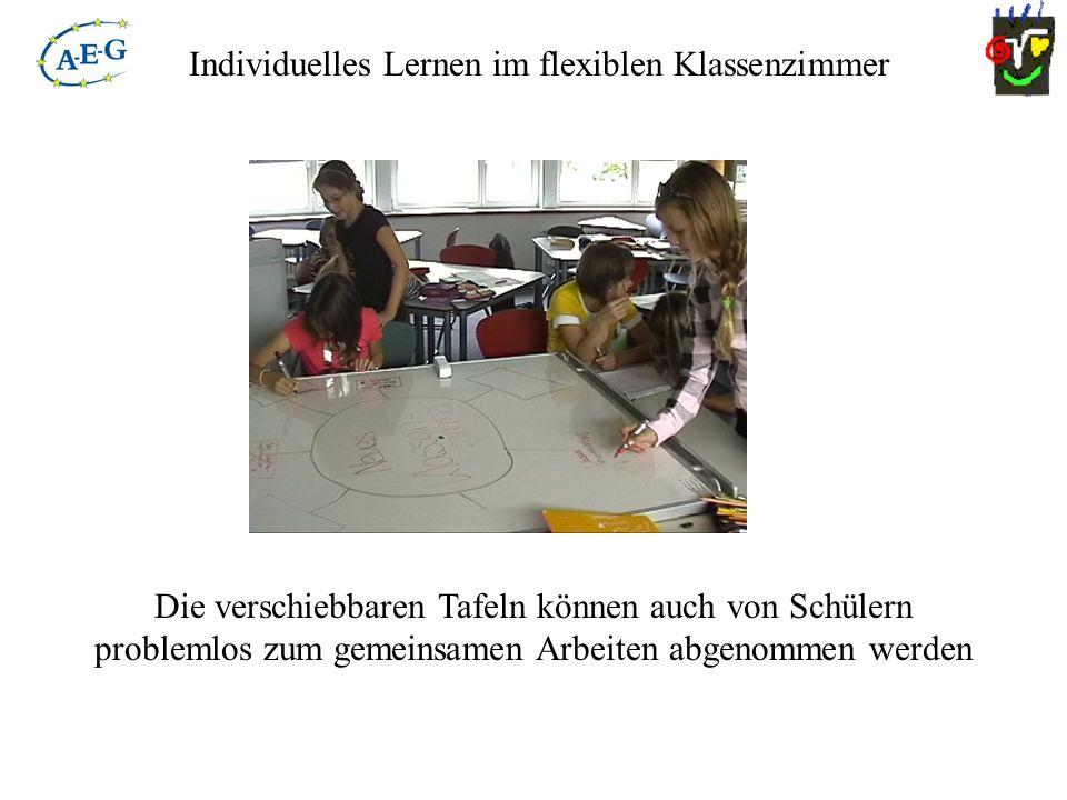 Individuelles Lernen im flexiblen Klassenzimmer Die verschiebbaren Tafeln können auch von Schülern problemlos zum gemeinsamen Arbeiten abgenommen werd