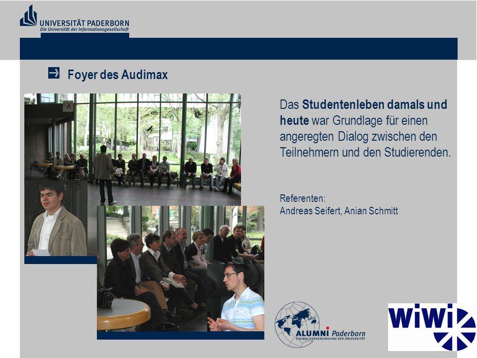 Das Studentenleben damals und heute war Grundlage für einen angeregten Dialog zwischen den Teilnehmern und den Studierenden. Referenten: Andreas Seife