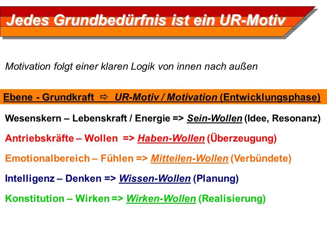 Motivation folgt einer klaren Logik von innen nach außen Wesenskern – Lebenskraft / Energie => Sein-Wollen (Idee, Resonanz) Antriebskräfte – Wollen =>