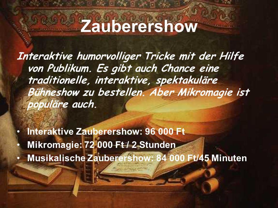 Zauberershow Interaktive humorvolliger Tricke mit der Hilfe von Publikum. Es gibt auch Chance eine traditionelle, interaktive, spektakuläre Bühneshow