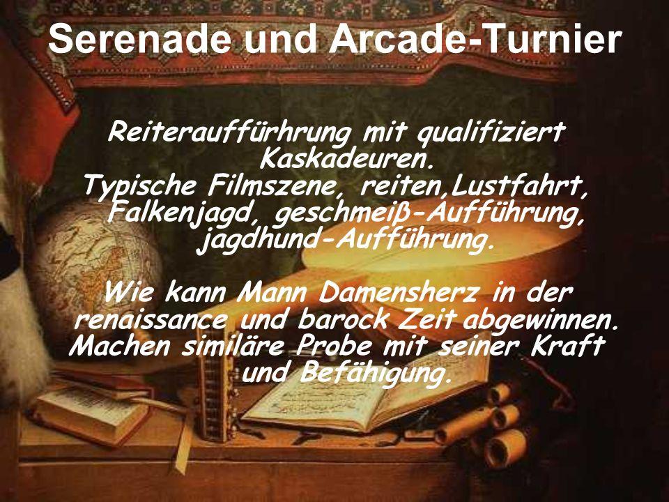 Serenade und Arcade-Turnier Reiterauffürhrung mit qualifiziert Kaskadeuren. Typische Filmszene, reiten,Lustfahrt, Falkenjagd, geschmeiβ-Aufführung, ja