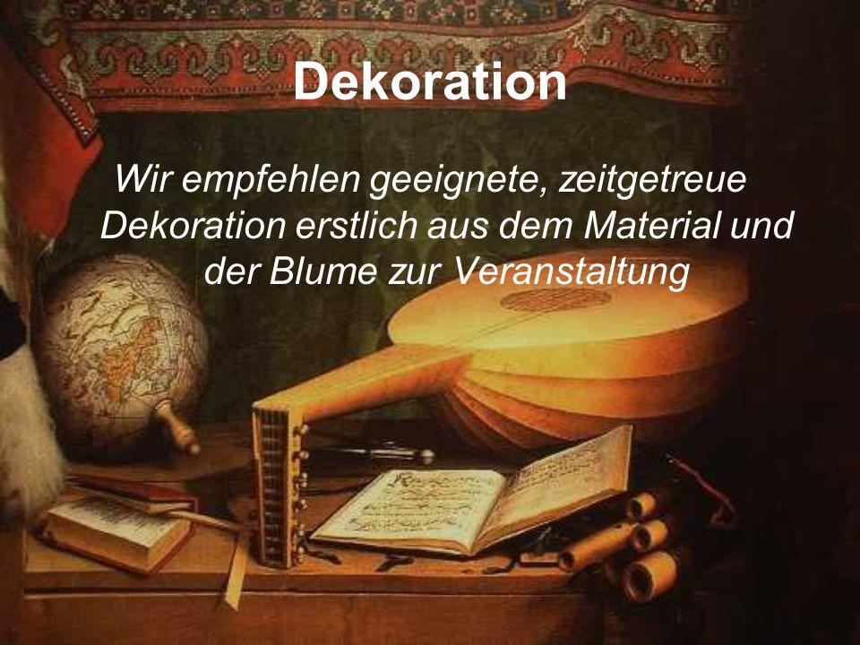 Dekoration Wir empfehlen geeignete, zeitgetreue Dekoration erstlich aus dem Material und der Blume zur Veranstaltung