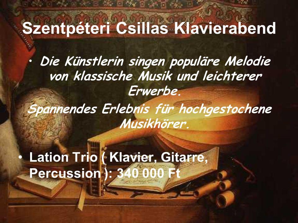 Szentpéteri Csillas Klavierabend Die Künstlerin singen populäre Melodie von klassische Musik und leichterer Erwerbe. Spannendes Erlebnis für hochgesto
