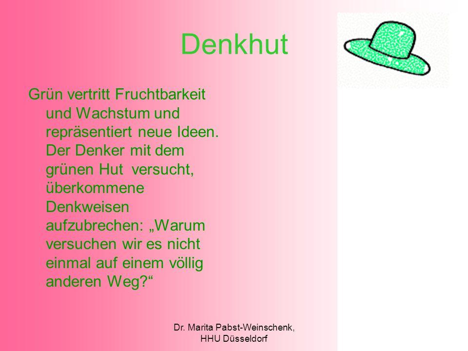 Dr. Marita Pabst-Weinschenk, HHU Düsseldorf Denkhut Grün vertritt Fruchtbarkeit und Wachstum und repräsentiert neue Ideen. Der Denker mit dem grünen H