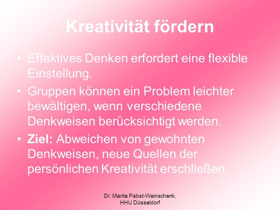 Dr. Marita Pabst-Weinschenk, HHU Düsseldorf Kreativität fördern Effektives Denken erfordert eine flexible Einstellung. Gruppen können ein Problem leic
