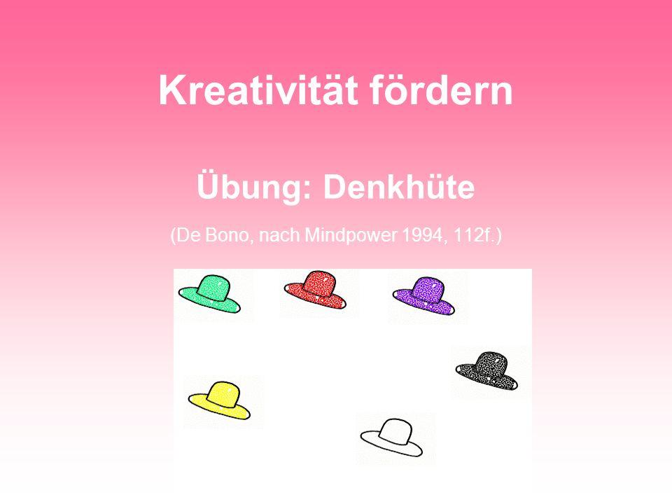 Dr. Marita Pabst-Weinschenk, HHU Düsseldorf Kreativität fördern Übung: Denkhüte (De Bono, nach Mindpower 1994, 112f.)