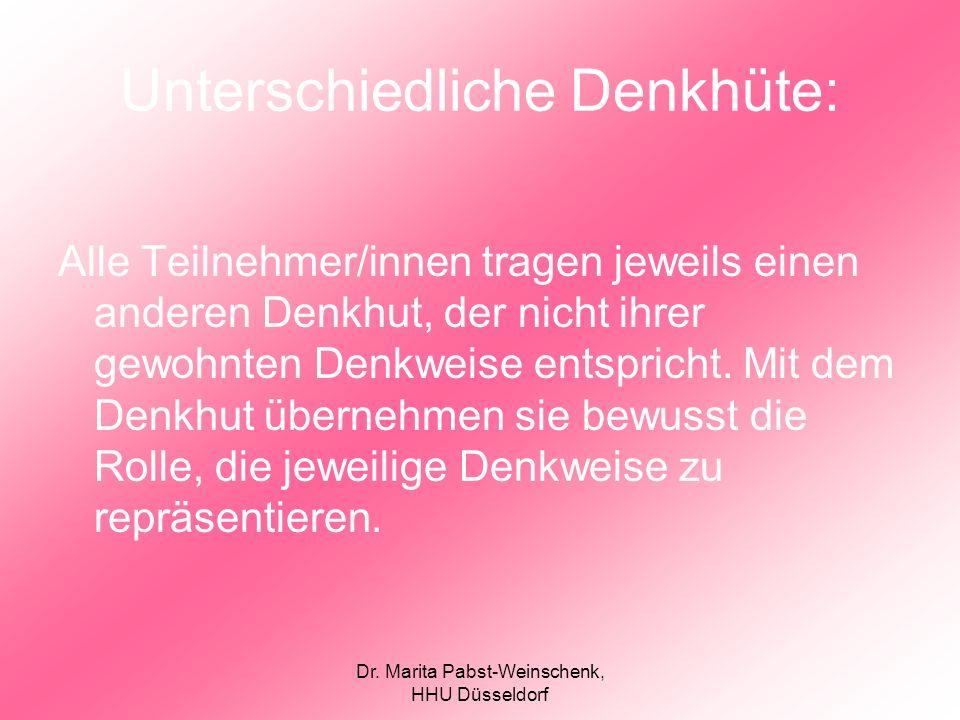 Dr. Marita Pabst-Weinschenk, HHU Düsseldorf Unterschiedliche Denkhüte: Alle Teilnehmer/innen tragen jeweils einen anderen Denkhut, der nicht ihrer gew
