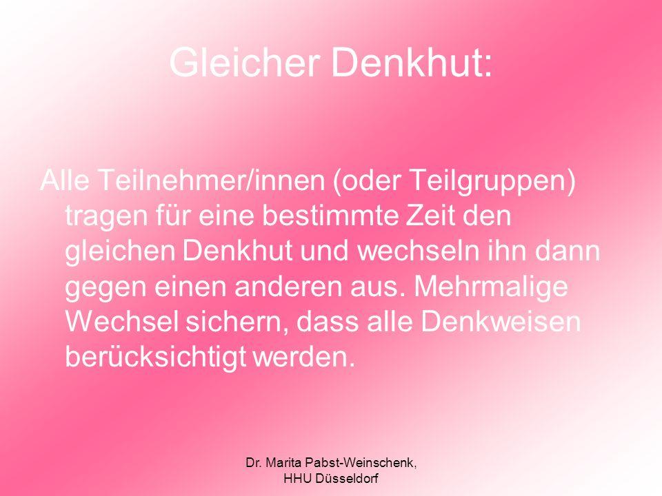 Dr. Marita Pabst-Weinschenk, HHU Düsseldorf Gleicher Denkhut: Alle Teilnehmer/innen (oder Teilgruppen) tragen für eine bestimmte Zeit den gleichen Den