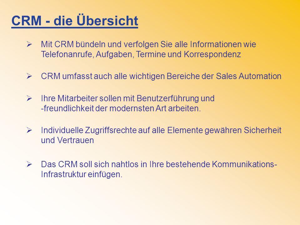 CRM - die Übersicht Mit CRM bündeln und verfolgen Sie alle Informationen wie Telefonanrufe, Aufgaben, Termine und Korrespondenz CRM umfasst auch alle