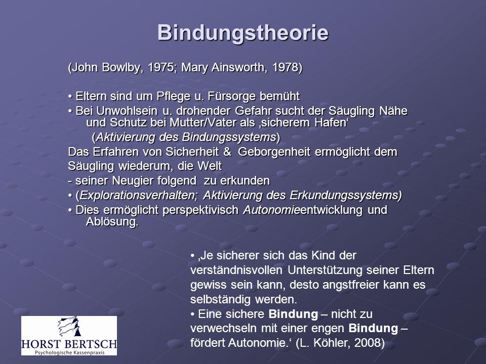 Bindungstheorie (John Bowlby, 1975; Mary Ainsworth, 1978) Eltern sind um Pflege u. Fürsorge bemüht Eltern sind um Pflege u. Fürsorge bemüht Bei Unwohl