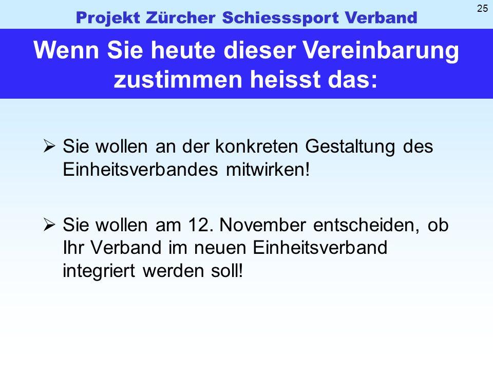 Projekt Zürcher Schiesssport Verband 25 Sie wollen an der konkreten Gestaltung des Einheitsverbandes mitwirken.