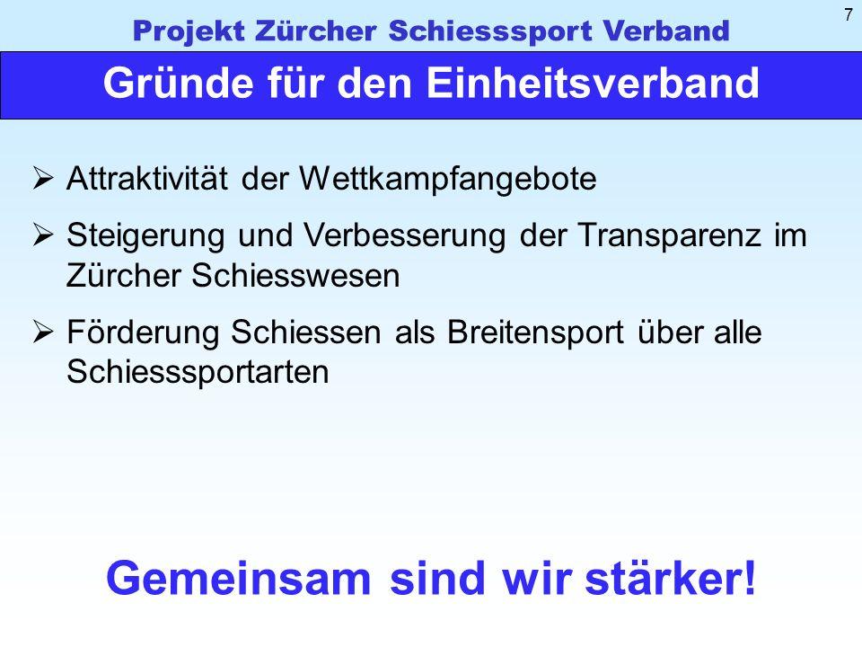 Projekt Zürcher Schiesssport Verband 7 Gründe für den Einheitsverband Gemeinsam sind wir stärker.