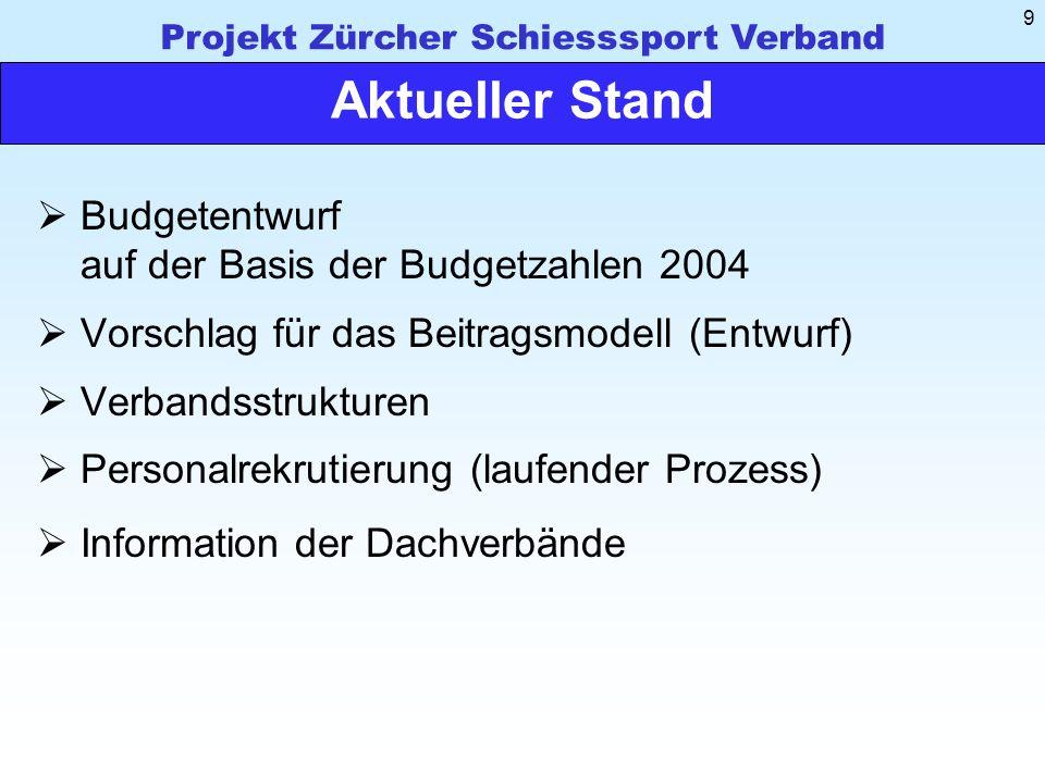 Projekt Zürcher Schiesssport Verband 9 Aktueller Stand Budgetentwurf auf der Basis der Budgetzahlen 2004 Vorschlag für das Beitragsmodell (Entwurf) Verbandsstrukturen Personalrekrutierung (laufender Prozess) Information der Dachverbände