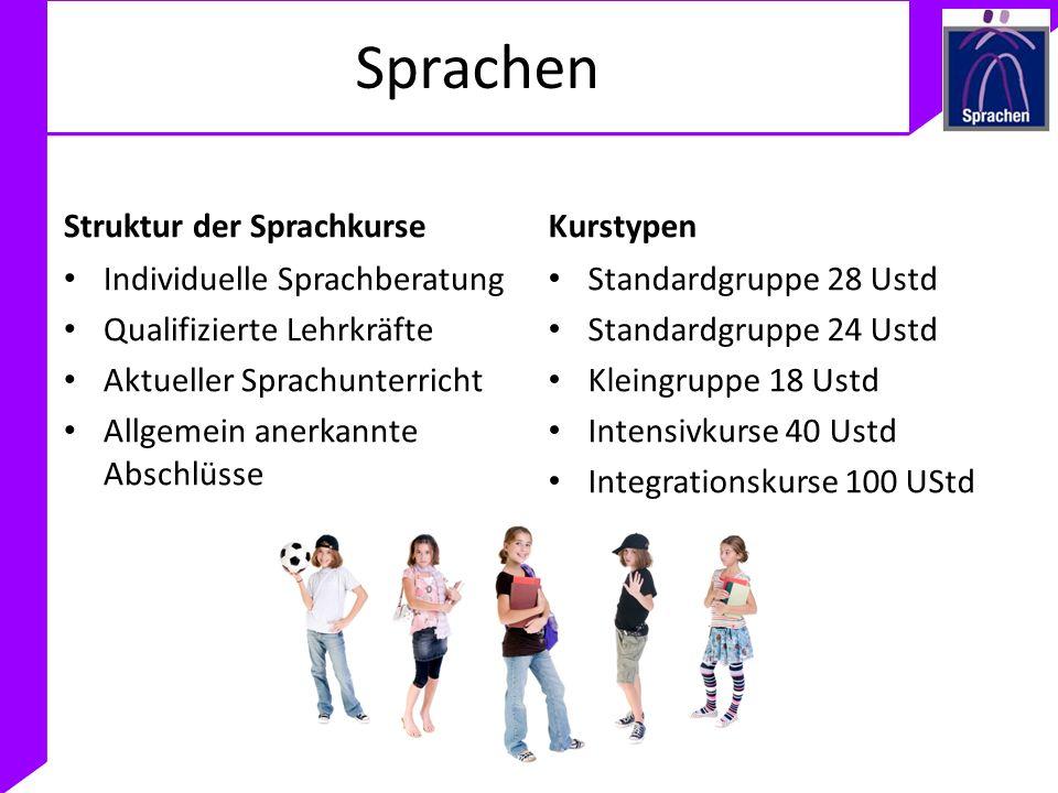 Sprachen Struktur der Sprachkurse Individuelle Sprachberatung Qualifizierte Lehrkräfte Aktueller Sprachunterricht Allgemein anerkannte Abschlüsse Kurs