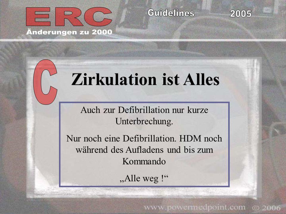 Zirkulation ist Alles Auch zur Defibrillation nur kurze Unterbrechung. Nur noch eine Defibrillation. HDM noch während des Aufladens und bis zum Komman