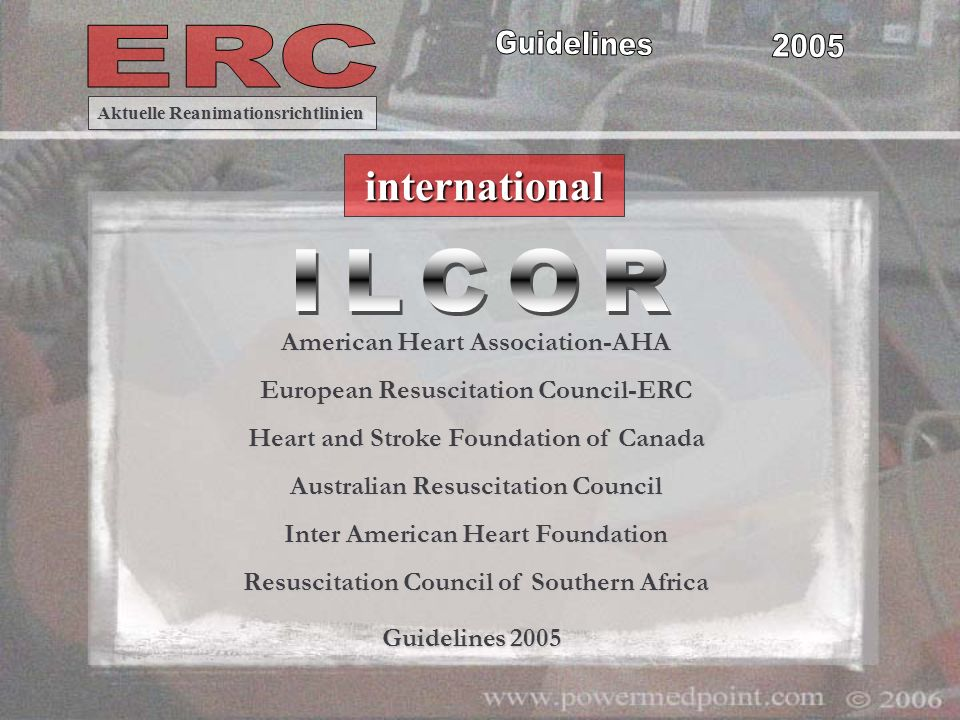 Es dauert Jahre, um Leitlinien international einheitlich zu verändern Arbeitsbeginn 2003 !!.