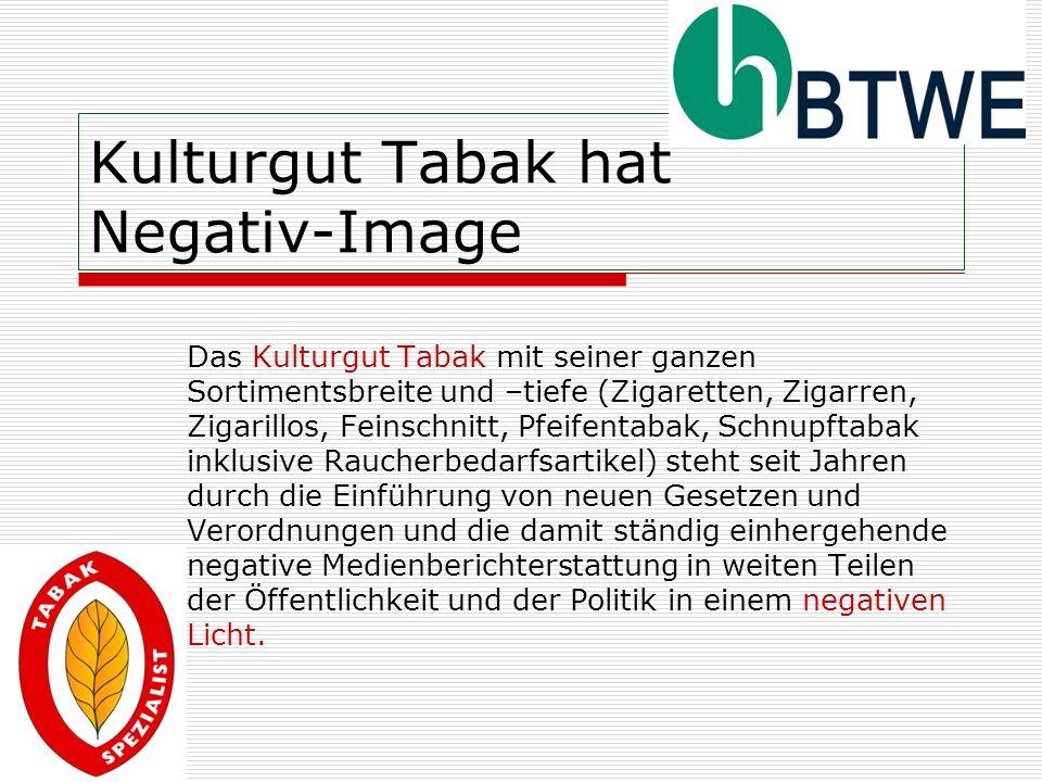 Kulturgut Tabak hat Negativ-Image Das Kulturgut Tabak mit seiner ganzen Sortimentsbreite und –tiefe (Zigaretten, Zigarren, Zigarillos, Feinschnitt, Pf