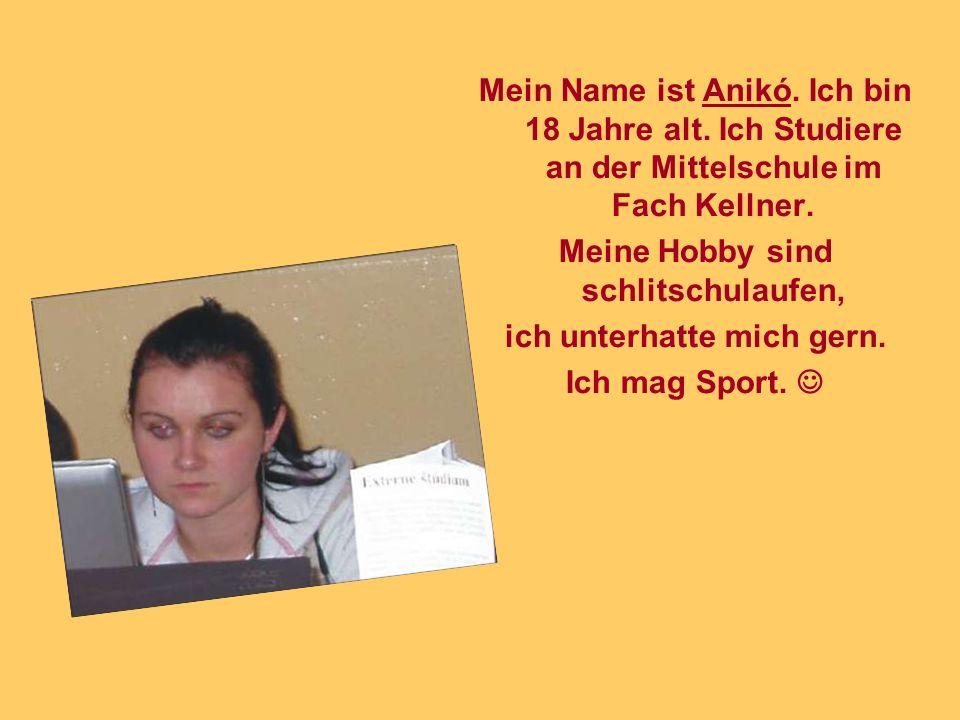 Mein Name ist Anikó. Ich bin 18 Jahre alt. Ich Studiere an der Mittelschule im Fach Kellner.