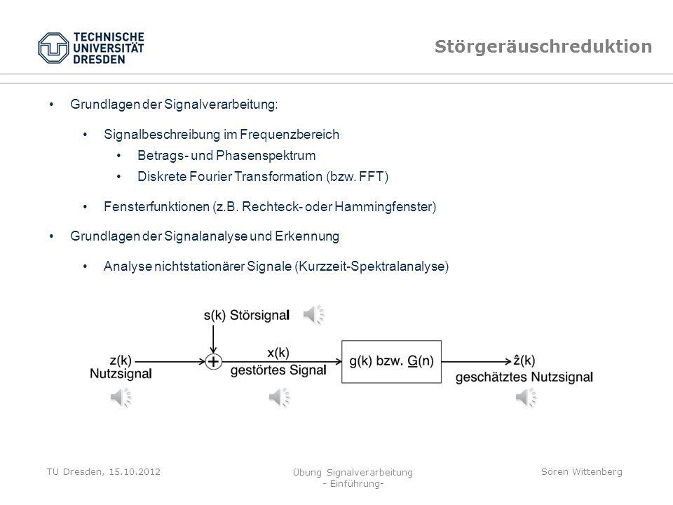 TU Dresden, 15.10.2012 Übung Signalverarbeitung - Einführung- Sören Wittenberg Nulldurchgangs-Analyse Nulldurchgangshäufigkeit (-dichte) Anzahl der Nu