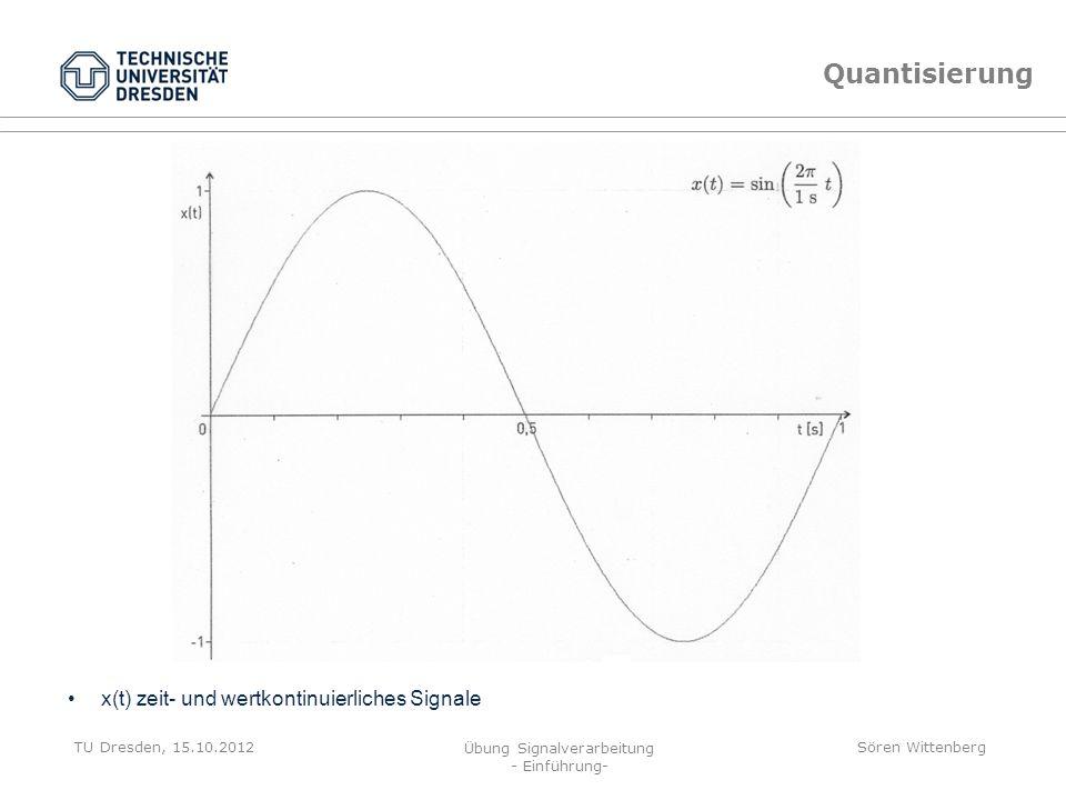 TU Dresden, 15.10.2012 Übung Signalverarbeitung - Einführung- Sören Wittenberg Signalverarbeitung Beschreibung von Signalen mit mathematischen Hilfsmi