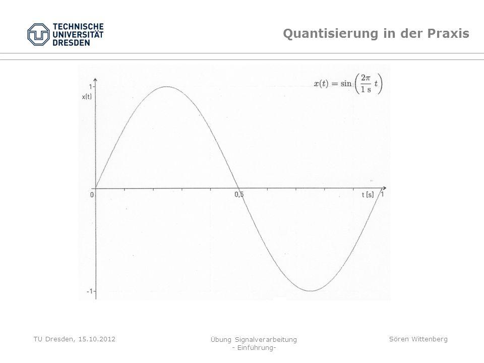 TU Dresden, 15.10.2012 Übung Signalverarbeitung - Einführung- Sören Wittenberg x(t) x { x e (t) Quantisierung durch Abrunden x´(t) = 0; Quantisierung