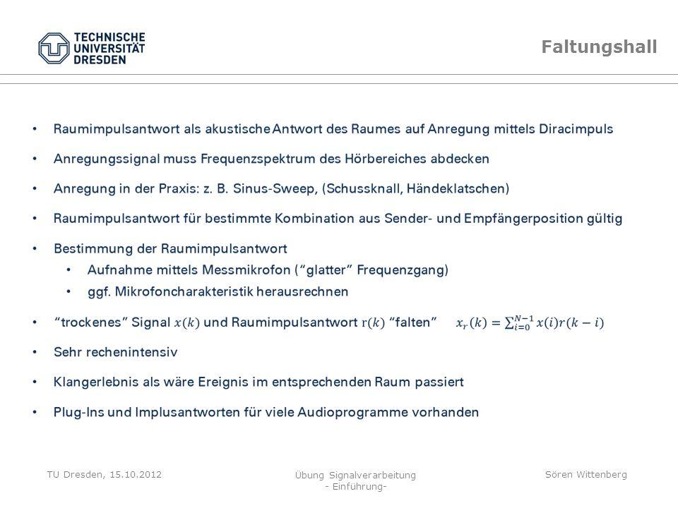TU Dresden, 15.10.2012 Übung Signalverarbeitung - Einführung- Sören Wittenberg Raumimpulsantwort Beispiel: eine Raumimpulsantwort für ein Wohnzimmer
