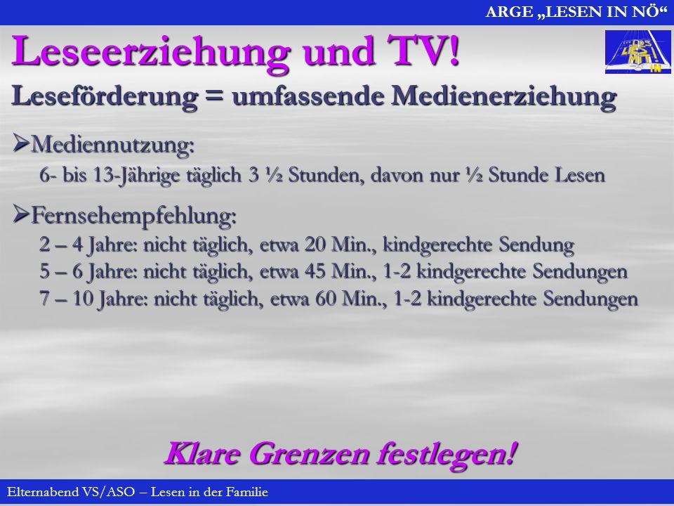 ARGE LESEN IN NÖ Elternabend VS/ASO – Lesen in der Familie Leseerziehung und TV.