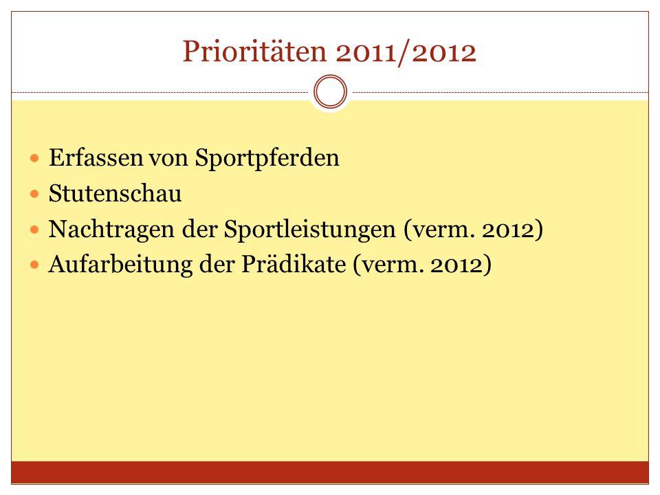 Prioritäten 2011/2012 Erfassen von Sportpferden Stutenschau Nachtragen der Sportleistungen (verm.
