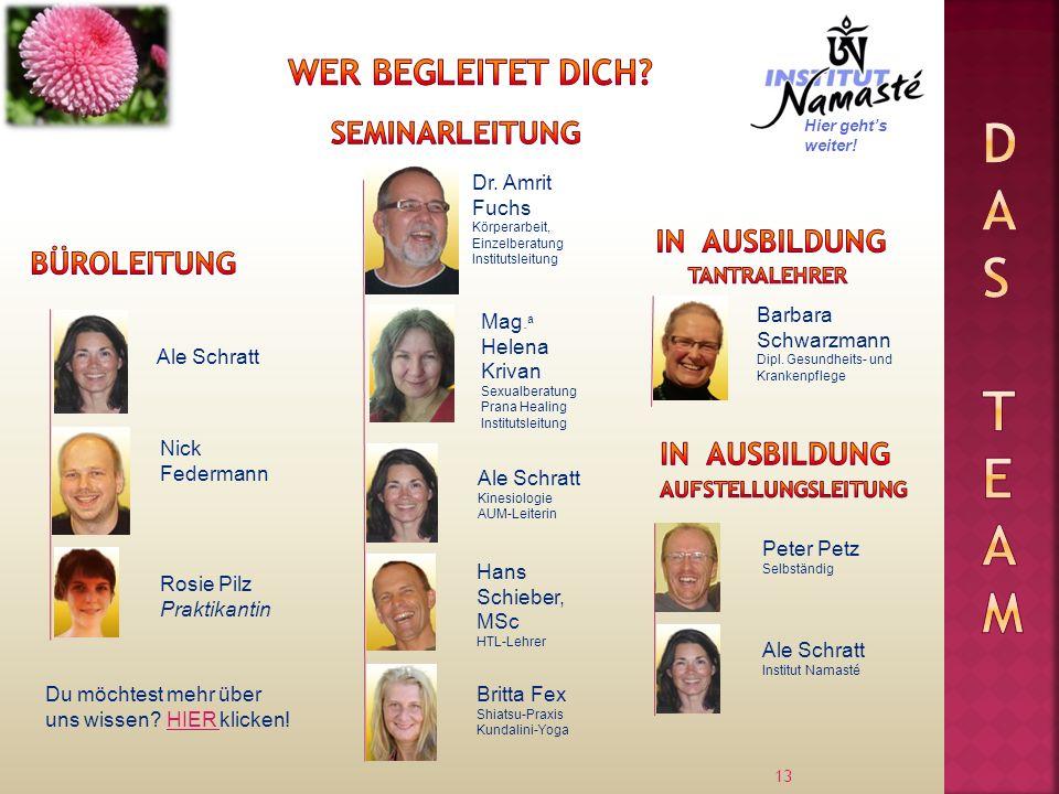 13 Ale Schratt Dr. Amrit Fuchs Körperarbeit, Einzelberatung Institutsleitung Nick Federmann Mag. a Helena Krivan Sexualberatung Prana Healing Institut