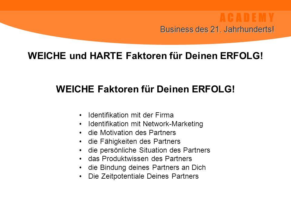 A C A D E M Y Business des 21. Jahrhunderts. WEICHE und HARTE Faktoren für Deinen ERFOLG.
