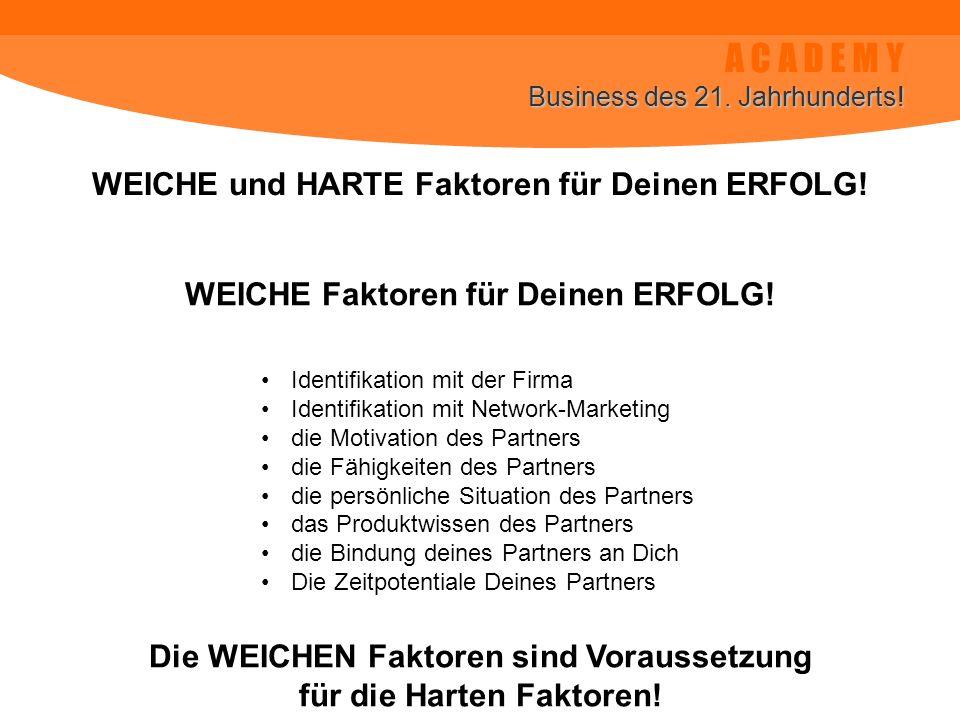 A C A D E M Y Business des 21. Jahrhunderts! WEICHE und HARTE Faktoren für Deinen ERFOLG! Identifikation mit der Firma Identifikation mit Network-Mark
