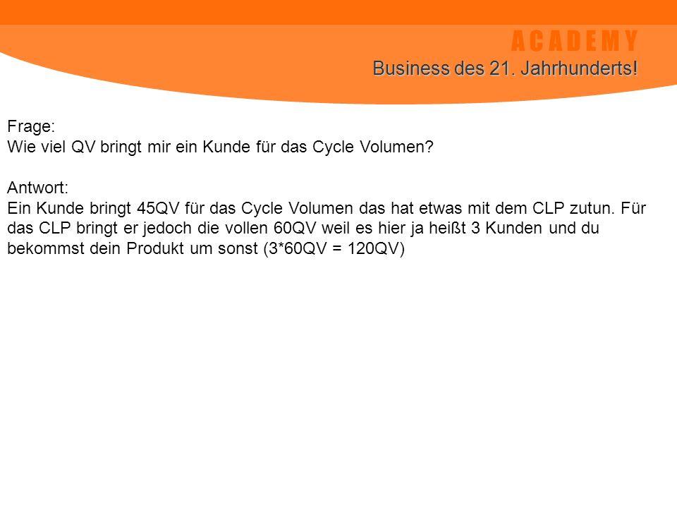 A C A D E M Y Business des 21. Jahrhunderts! Frage: Wie viel QV bringt mir ein Kunde für das Cycle Volumen? Antwort: Ein Kunde bringt 45QV für das Cyc