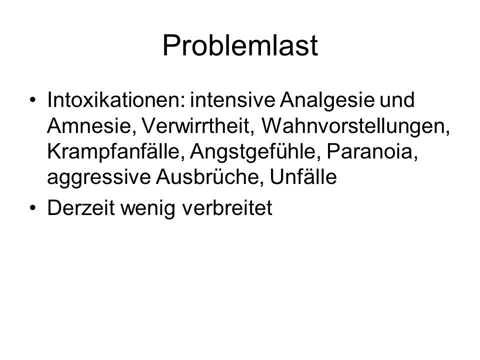 Problemlast Intoxikationen: intensive Analgesie und Amnesie, Verwirrtheit, Wahnvorstellungen, Krampfanfälle, Angstgefühle, Paranoia, aggressive Ausbrü
