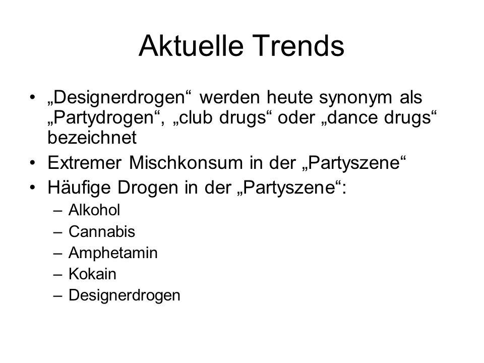 Aktuelle Trends Designerdrogen werden heute synonym als Partydrogen, club drugs oder dance drugs bezeichnet Extremer Mischkonsum in der Partyszene Häu