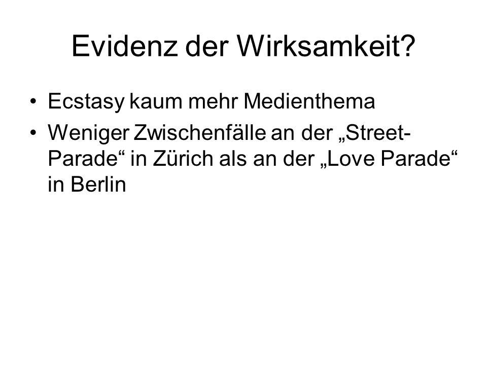 Evidenz der Wirksamkeit? Ecstasy kaum mehr Medienthema Weniger Zwischenfälle an der Street- Parade in Zürich als an der Love Parade in Berlin