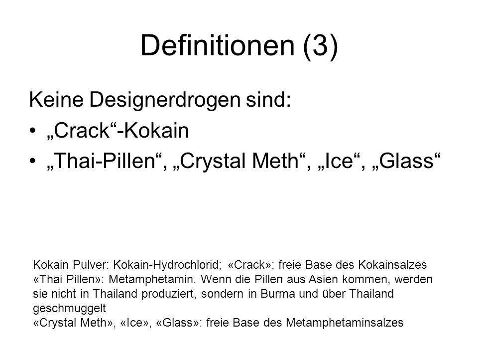 Definitionen (3) Keine Designerdrogen sind: Crack-Kokain Thai-Pillen, Crystal Meth, Ice, Glass Kokain Pulver: Kokain-Hydrochlorid; «Crack»: freie Base