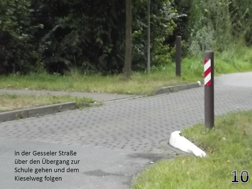 in der Gesseler Straße über den Übergang zur Schule gehen und dem Kieselweg folgen