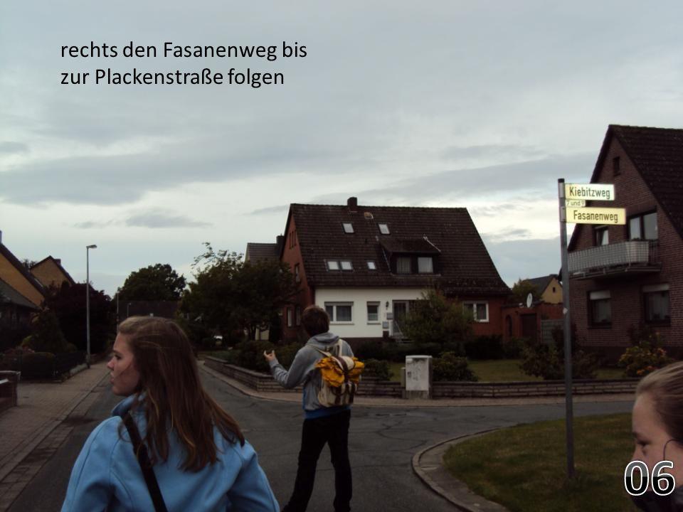 rechts den Fasanenweg bis zur Plackenstraße folgen